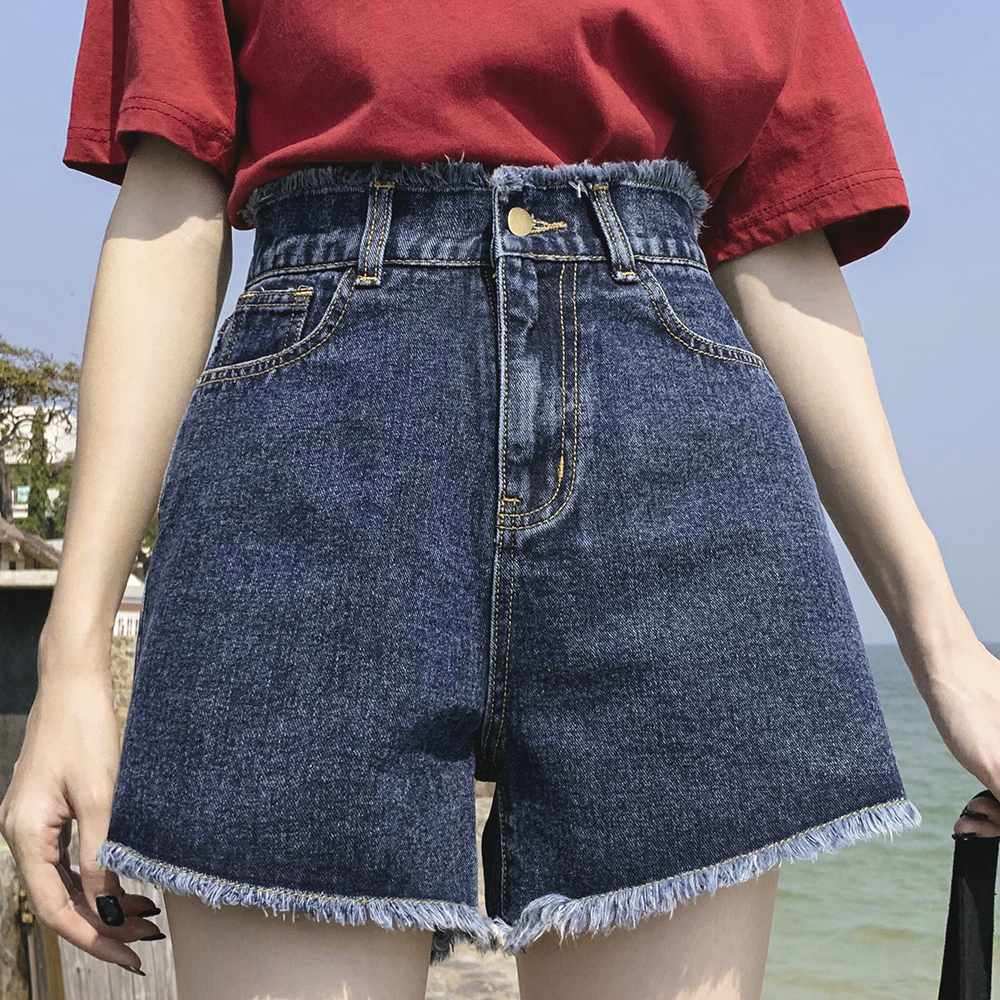 Summer New Cool Women Denim Shorts Fashion Tassel Burr Hem Shorts High Waist Wide Leg With Pockets Casual Women Shorts