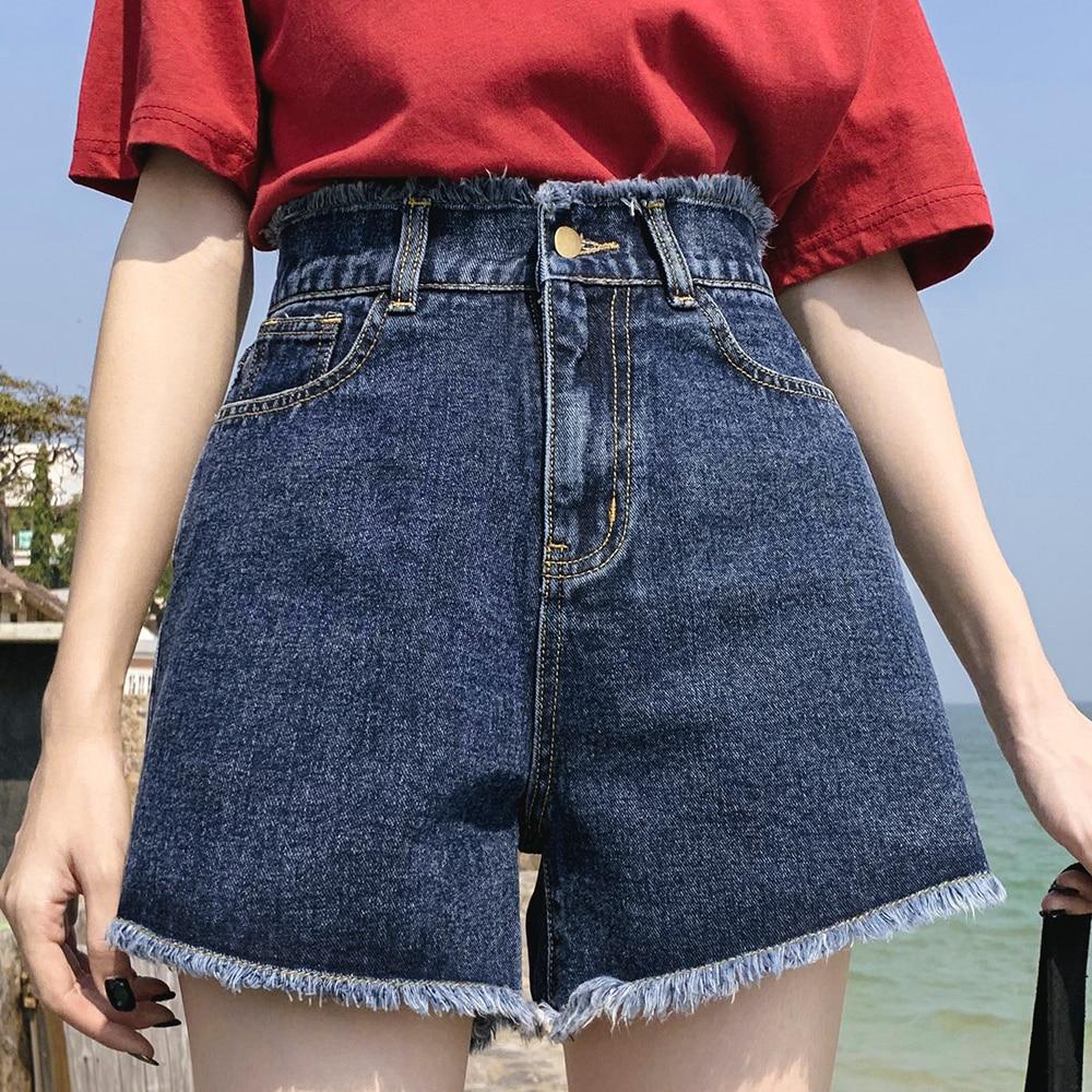 Summer New Cool Women Denim Shorts Fashion Tassel Burr Hem Shorts High Waist Wide Leg With Pockets Casual Women Shorts