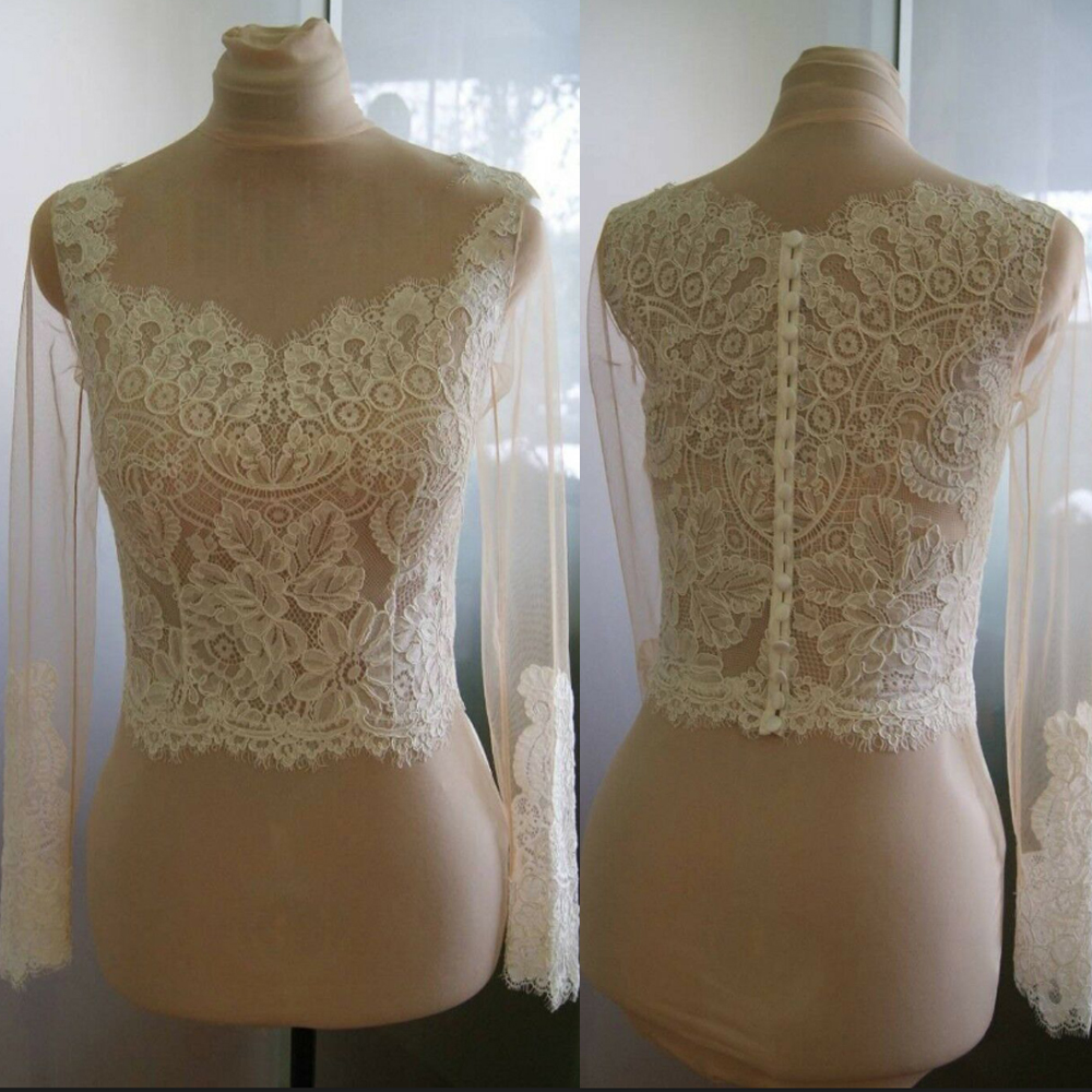 White/Ivory Wedding Jackets Lace Top Long Sleeve Bridal Bolero Scoop Neck Custom Buttons Back