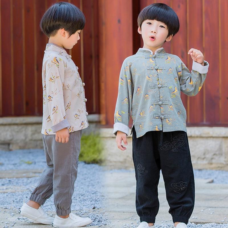 2 Pcs Summer Children Baby  Linen Suit Vest Pants Tangfu Hanfu Kid Clothing
