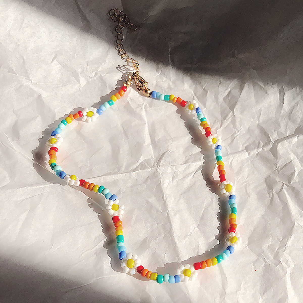 SHIXIN Boho Colorful Small Beads Choker Necklace for Women Simple Beaded Flower Necklace Handmade Collar Jewelry Collier Femme