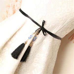 Black Belt Waistband Strap Decoration Tassel-Fringe Long Fashion Women Rope Dress Female