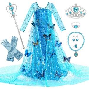 Платье принцессы Эльзы для девочек Детский костюм с цветочным рисунком, костюм Снежной королевы, 2 Эльзы, Детские Вечерние платья на день ро...