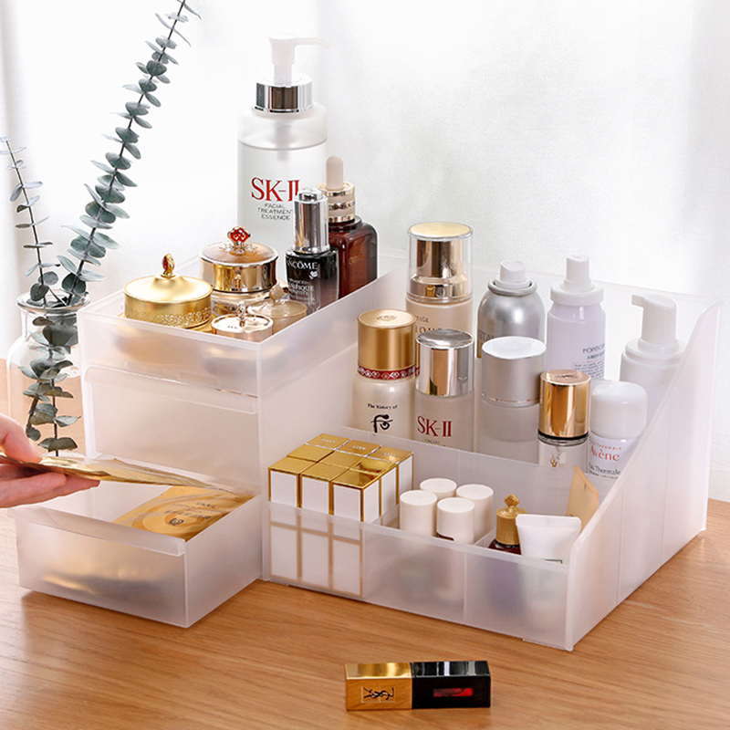The Drawer Transparent Large Makeup Organizer Storage Boxes Make Up Lipstick Organizer Cosmetics Brush Organizer Storage Jewelry