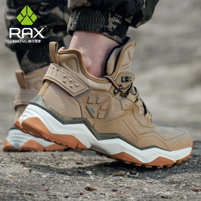 RAX Men's Waterproof Hiking Anti-slip Trekking Multi-terrian Mountaineer Shoes For Winter Breathable Warming Of Genuine Leather