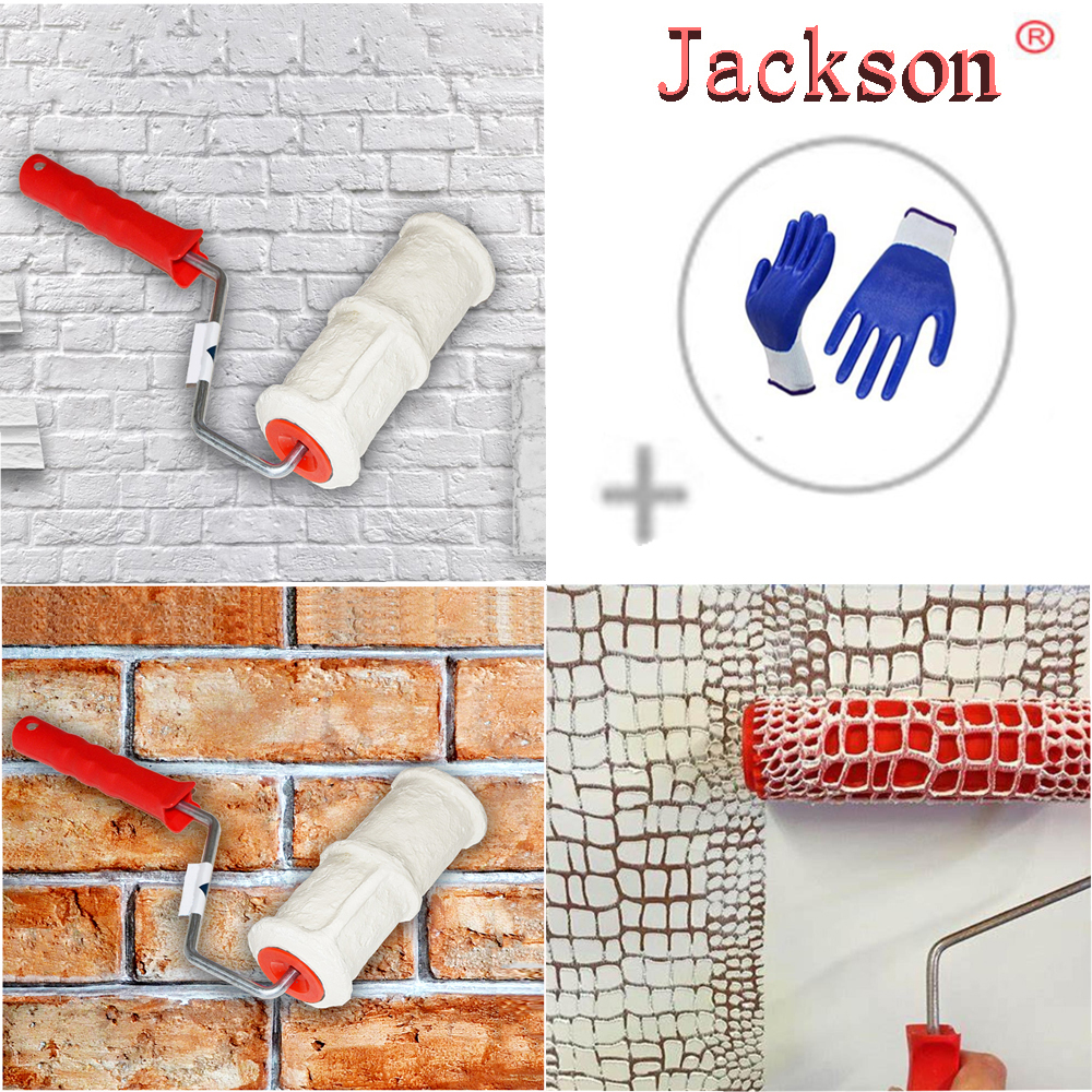 New Pattern Paint Roller Polyurethane Tool Environmental Protection Stamp Roller Decorative Cylinder Imitate Stone For Wall