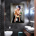 Modern toilet sexy woman canvas painting engraving bar girl smoking and drinking bathroom wall art picture poster decoration
