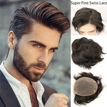 Swiss Lace Mens Toupee Hairpieces Natural Hairline Human Hair Wigs Full Soft Replacements Bleached Knots Systems Toupee 10X8