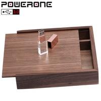 POWERONE 1 PCS freies LOGO nussbaum Fotoalbum kristall usb + Box Speicher stick 4GB 16gb 64GB Fotografie Hochzeit 170*170*35mm