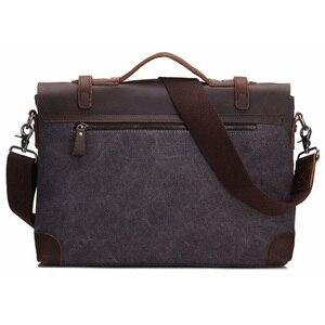 Image 3 - Мужской портфель, сумка из натуральной кожи и холста, Лоскутная мужская сумка мессенджер, винтажная брендовая мужская сумка на плечо для ноутбука, дорожная сумка