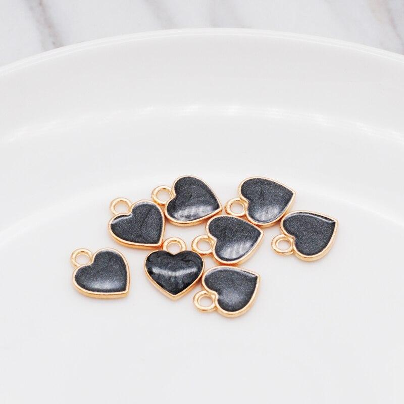 30pcs/Lot New Earrings DIY Accessories Cartoon Lovely Heart Simple Pendant Earrings Material Enamel Charm 10*12mm 6