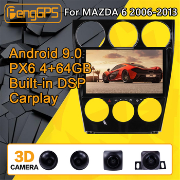 For Mazda 6 Android Radio Car multimedia Player 2006 - 2013 Stereo PX6 Audio GPS Navi Head unit Autoradio No 2din 2 DIN camera image