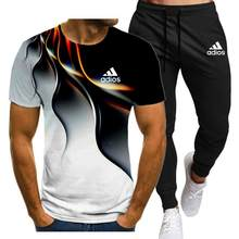 2021New Men's Summer Leisure Sets T-Shirt+Pants Two Pieces Casual Tracksuit Male Sportswear Gym Brand Clothing Sweat Suit