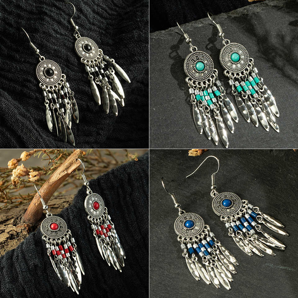 Fashion dream catch Vintage bohemian boho ethnic Metal tassel earrings for women dangle drop hanging earing Charm jewelry gift