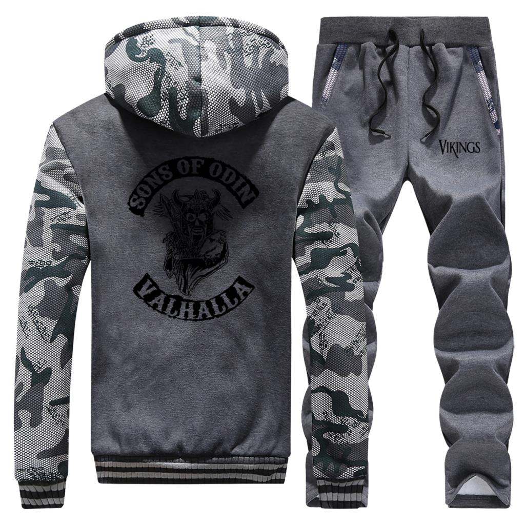 Hot Sale Winter 2019 Sportswear Vikings Sons Of Odin Valhalla Jackert Hoodie Mens Camouflage Coat Thick Suit+2 Piece Set Pants