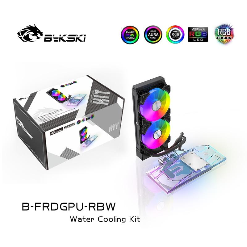 Водяной блок BYKSKI GPU для AMD/NVIDIA, графическая карта с 240 мм радиатором, водяной насос, A-RGB светодиодный светильник, GPU радиатор, радиатор, 120 венти...