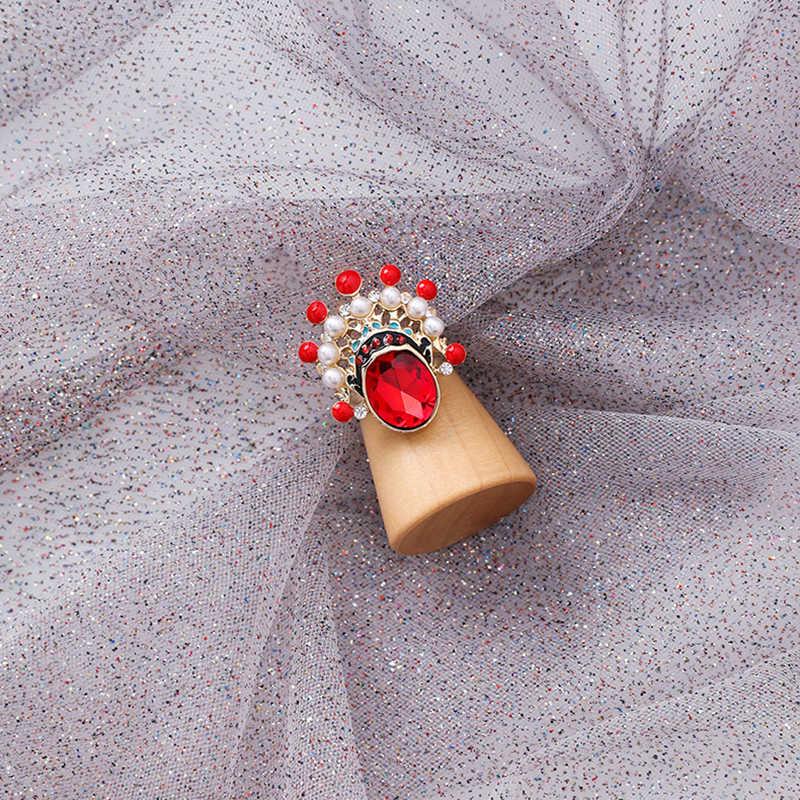 อารมณ์ปักกิ่ง Opera ใบหน้าหน้ากากแหวน Retro ไข่มุกหญิง Rhinestone Opera แหวนเครื่องประดับเดินทางของขวัญ
