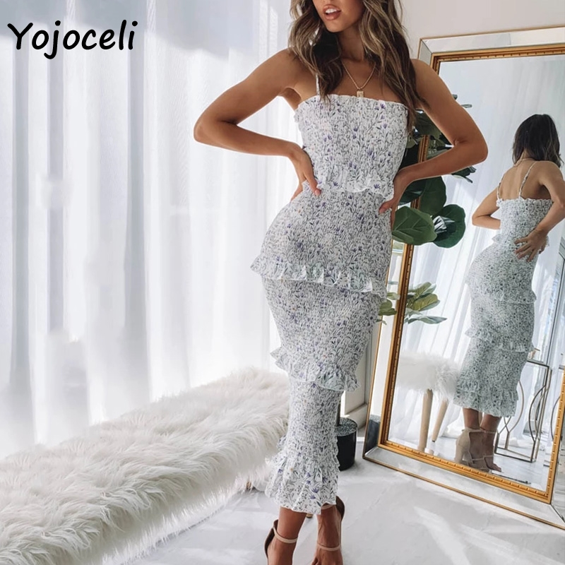 Yojoceli Sexy Floral Print Shirred Dress Women Layer Ruffle Midi Dress Women Party Club Slim Sundress 2019