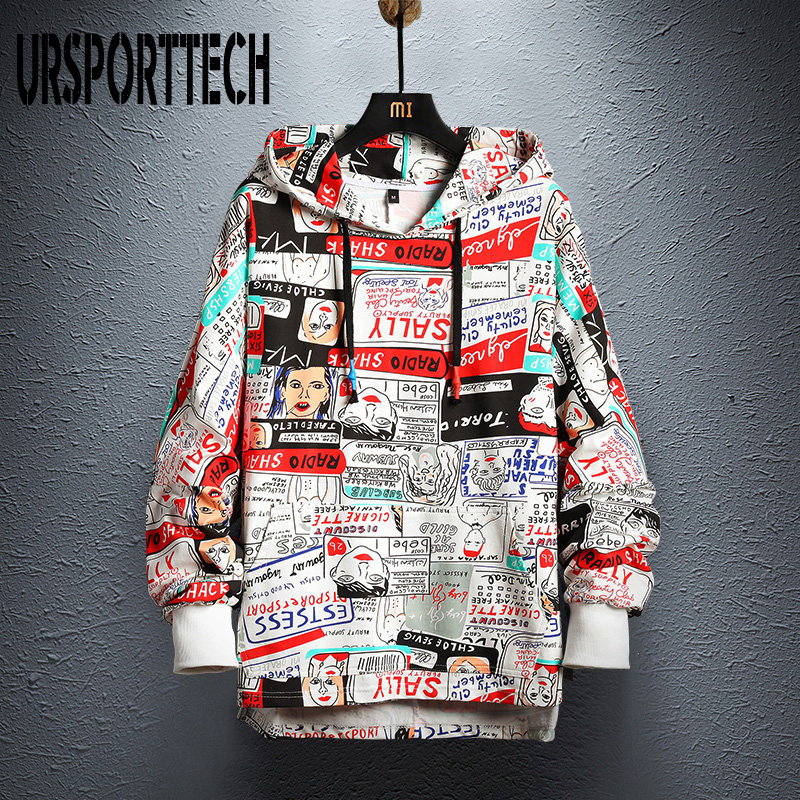 2019 New Brand Men Hoodies Harajuku Cartoon Pattern Printing Pullover Sweatshirt Men Casual Loose Hooded Sweatshirts Hip Hop 5XL