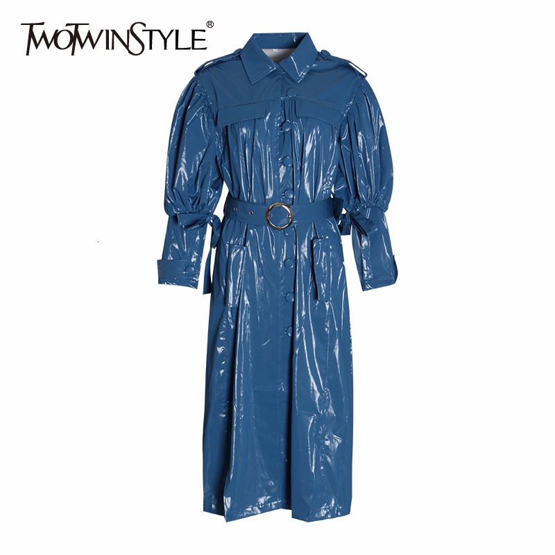 TWOTWINSTYLE PU Leather Trench Coat Female Lapel Collar Puff Sleeve High Waist Lace Up Windbreaker Women 2020 Spring Fashion New