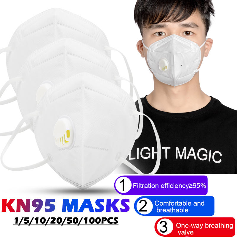 1/5/10Pcs KN95 Foldable Dust Mask With Valve PM2.5 Anti-fog Breathable Protective Mask Ear-hanging Filter Masks Dropshipping
