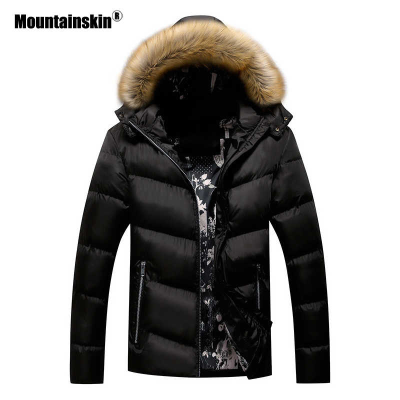 Mountainskin Winter Padded Coat Mens Jackets Thick Parka Fur Collar Hooded Men's Coats Casual Outerwear Brand Clothing SA777