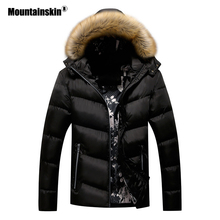 Mountainskin Winter Padded Coat Mens Jackets Thick Parka Fur Collar Hooded Mens Coats Casual Outerwear Brand Clothing SA777