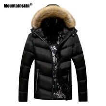 Mountainskin الشتاء معطف مبطّن رجل جاكيتات سترة سميكة الفراء طوق مقنع الرجال معاطف عارضة قميص العلامة التجارية الملابس SA777
