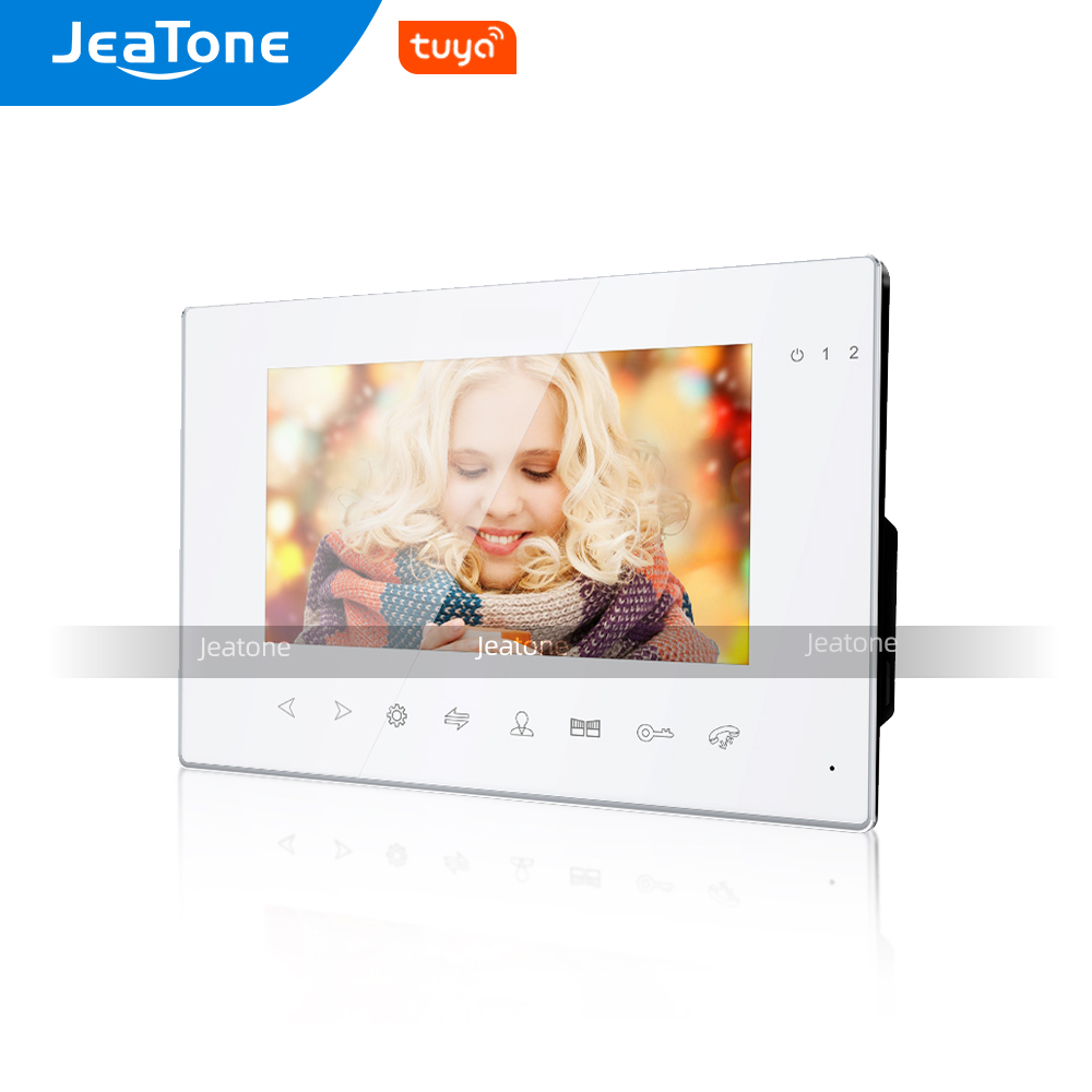 Jeatone AHD/960P 7 Inch Slave Single Monitor for Video Door Phone Intercom System Support Video Record, Day/Night Vision