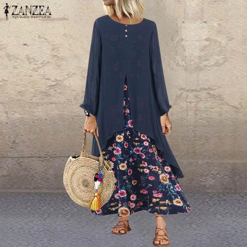 ZANZEA Women Long Sleeve Floral Print Sundress Autumn Vintage Long Dress Casual Pacthwork Vestido Kaftan Robe Femme Loose Dress7