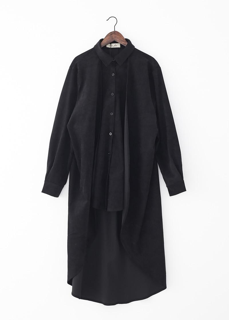 New Autumn 2020 Large Size Loose Black Shirt Coat Women Korea Fashion New Loose Street Wear Long Sleeve Irregular Long Jacket Women Women's Clothings cb5feb1b7314637725a2e7: black|gray