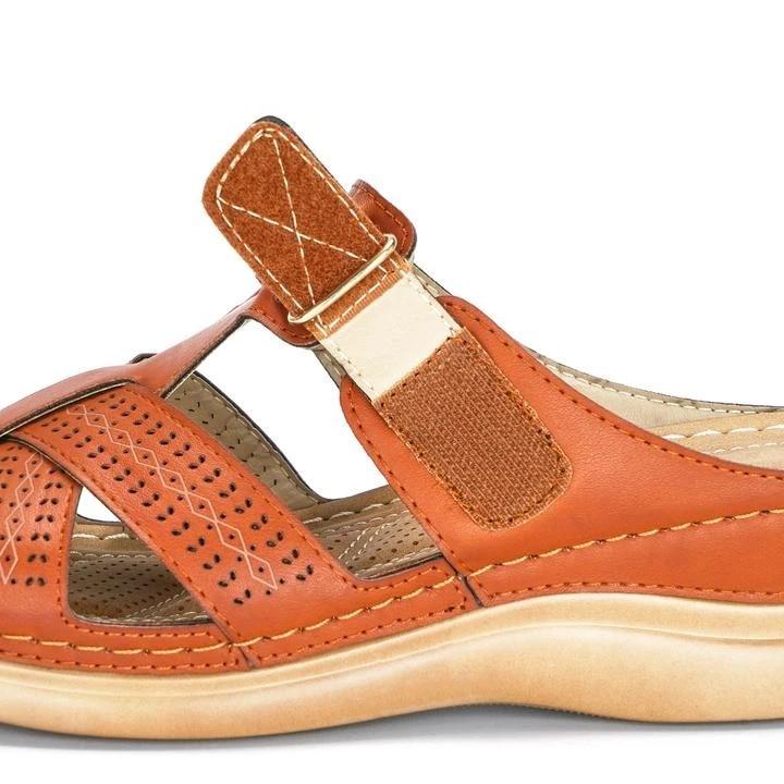 Puimentiua Women's Summer Open Toe Comfy Sandals Super Soft Premium Orthopedic Low Heels Walking Sandals Corrector Cusion