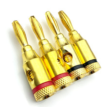 цена на 4PCS 4mm 24k Gold Plated Banana Plugs Wire Cable Connectors Musical For Speaker Amplifier Adapter Audio Banana Plug Connector
