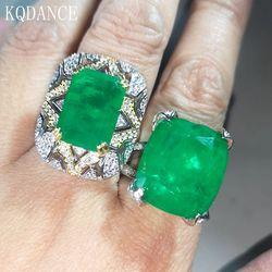 925 argent Sterling créé Moissanite diamant émeraude grand vert bague en pierres précieuses pour les femmes anniversaire Cocktail fête Fine bijoux
