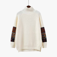 women pullovers knitwear sweater turtleneck Hand Sleeve Stitching Sweater Casual Sweaters Korean Female Pullovers 9.18
