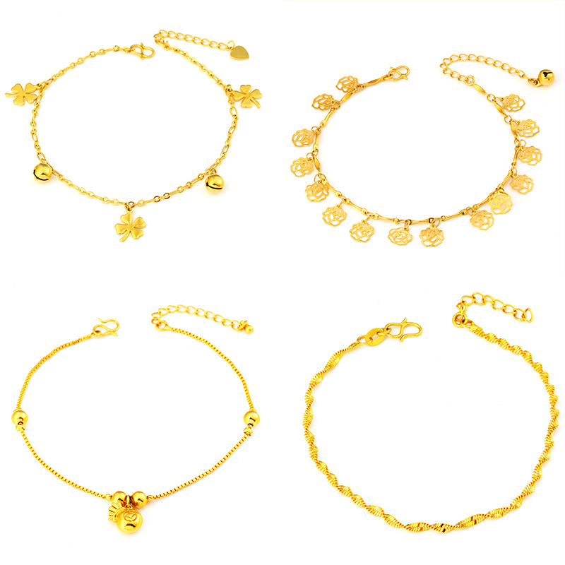 Fashion Clover 24K Gold Anklets for Women Adjustable Anklet 2020 Bracelet on Leg Foot Beach Body Chain Accessories Jewelry
