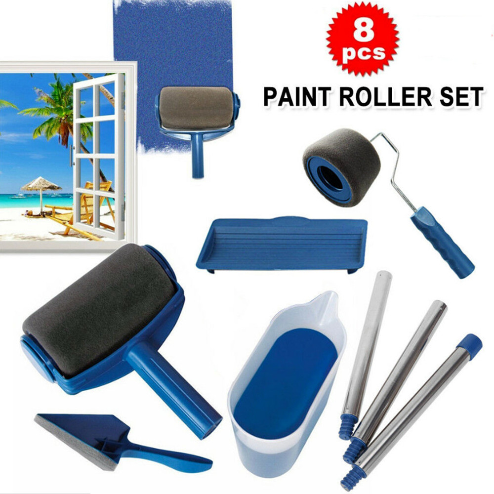 8pc/set Multifunctional Wall Decorative Paint Roller Corner Brush Handle Tool DIY Household Easy to Operate Painting Brushes Kit 1