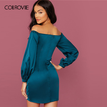 COLROVIE Green Off Shoulder Asymmetrical Hem Satin Dress Women Bishop Sleeve Mini Dress 2020 Spring Sexy Glamorous Dresses 1