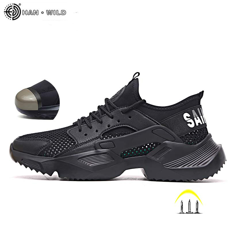 Work Safety Shoes Men 2019 Fashion Sneakers Ultra-light Soft Bottom Male Breathable Anti-smashing Steel Toe Work Boots Mens
