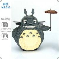 HC 9005 Anime My Neighbor Totoro Cat Animal Pet Umbrella Model DIY Mini Diamond Blocks mattoni giocattolo da costruzione per bambini senza scatola