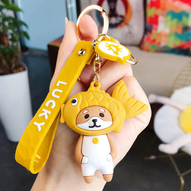 Japanse Snapper Gebraden Sleutelhangers Leuke Cartoon Tas Hanger Netto Rode Vis Hoofd Panda Auto Sleutelhanger Tas Hanger