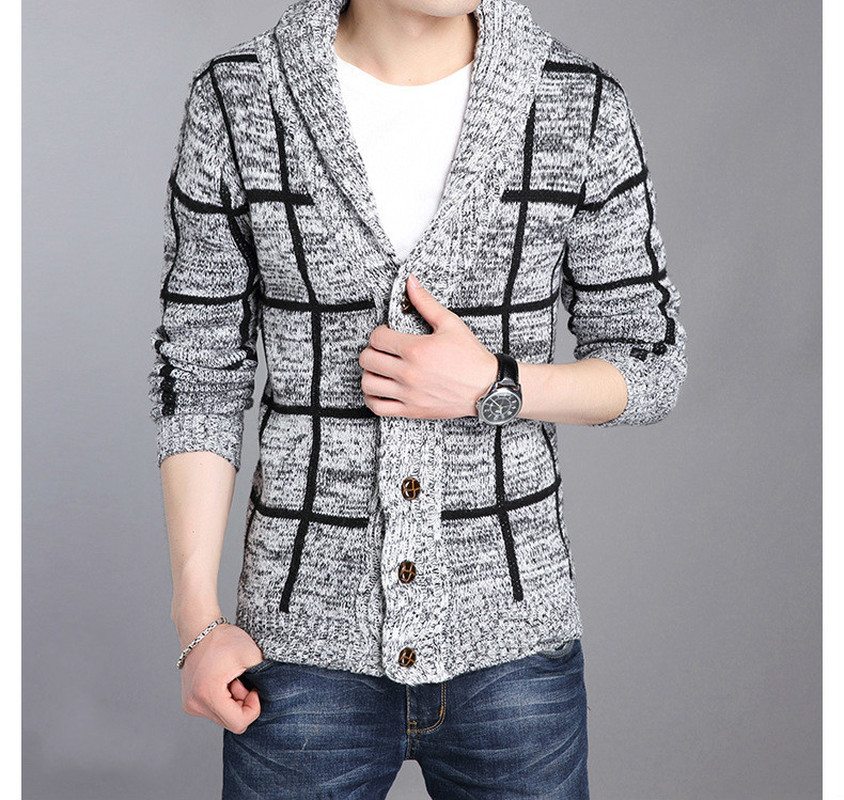 ZOGAA Winter Men Sweater Coat Striped Single-breasted Jacket Christmas Casual Turn-down Collar Knitting Male Cardigan Sweaters