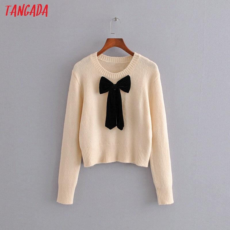 Tangada Autumn Winter Fashion Women Sweet Bow Tie Sweater O-neck Loose Long Sleeve Korean Style Jumper Ladies Pull 3H89