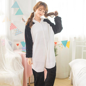 Image 4 - Adult Panda Cartoon Kigurumi Cosplay Costume Women Loose Kid Winter Animal Onesie Jumpsuit Boy Anime Flannel Pajamas Sleepwear