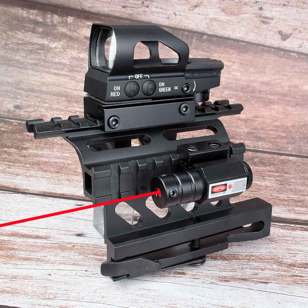 Picatinny Weaver AK Serie Rail Side Mount Quick QD 20mm Red Green Laser 4 Reticle Holographic Projected Dot Sight Scope