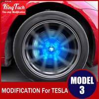 Blue Color Light Maglev Car Logo Ambient Hub Lights For Tesla MODEL 3 Modified Exterior Decoration Modified Accessories