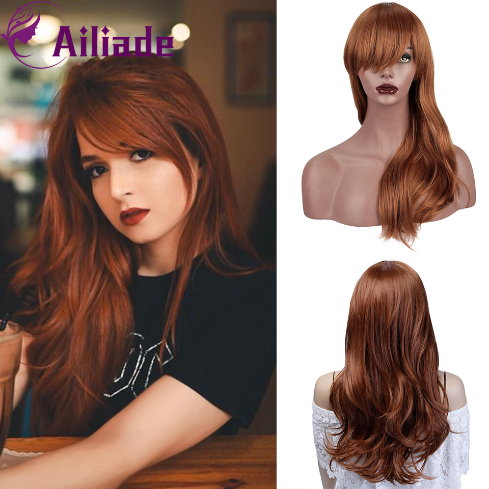 AILIADE 12 Colors Wavy Wigs Black Brown Purple Blue Blonde With Bangs Cosplay Synthetic Wigs For Women Long Hair Wigs Fake Hair