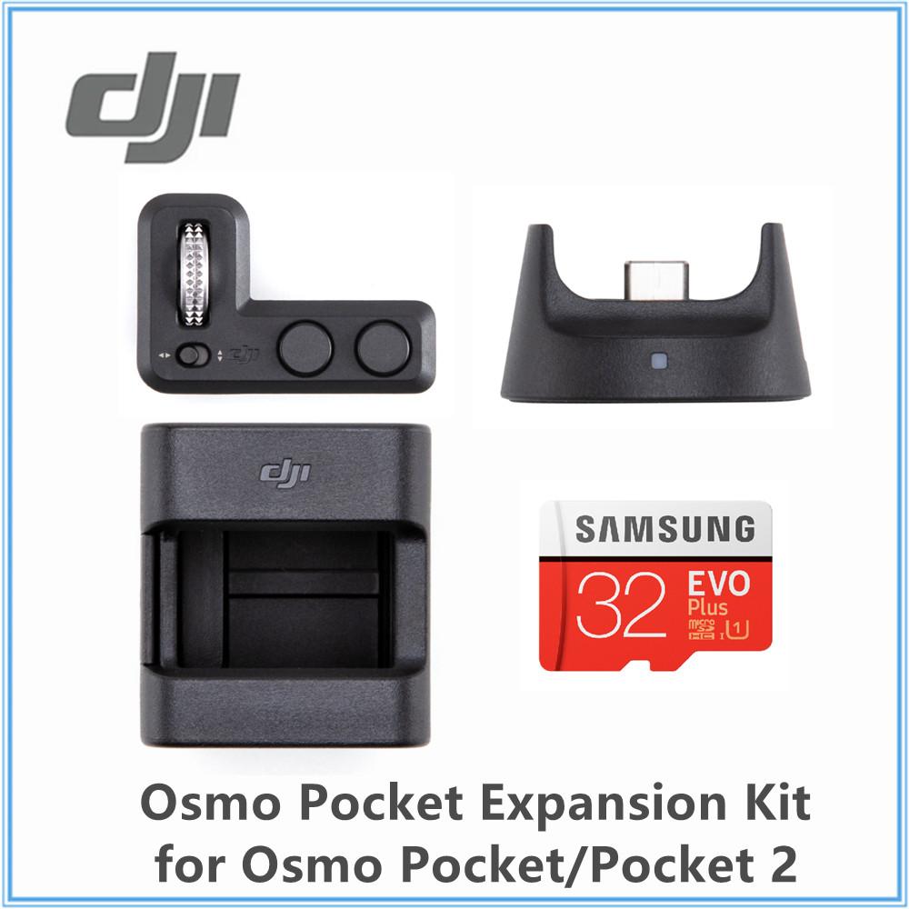 DJI Osmo Pocket Expansion Kit Original Accesories Includes Controller Wheel Wireless Module Mount 32GB Samsung MicroSD Card