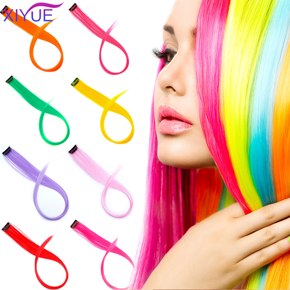 Long Straight Color Synthetic Hair Piece Hair Extensions Clip In High Temperature Rainbow Hair Streak Pink Synthetic Hair Strand