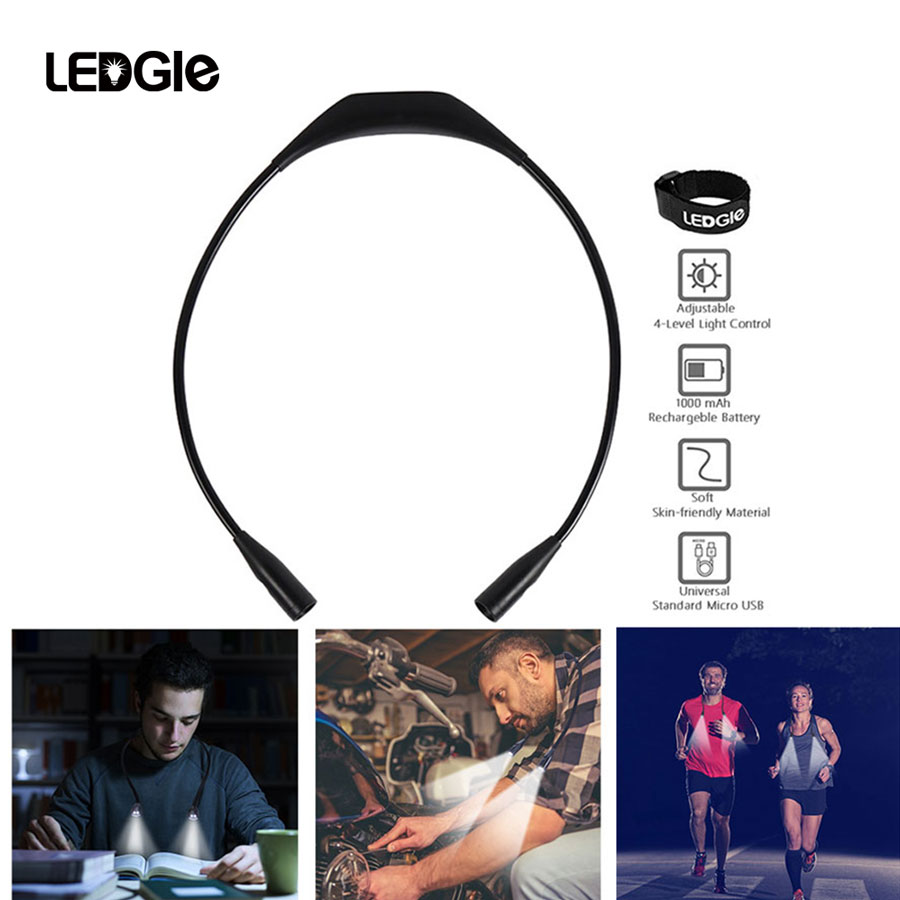 LED Flexible light Handsfree Neck Night Lamp Book Reading Lamp Novelty Led Flash Camping lights For